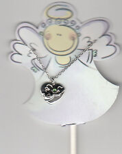 """Guardian Angel Necklace with Green Rhinestone, 18"""" Chain, New"""