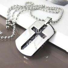 """Silver Black Army Military Twin Dog Tag Cross Pendant 24"""" Mens Chain Necklace"""