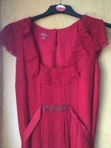 Monsoon 14 Red Silk Dress