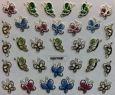 Nail Art 3D Decal Stickers Butterflies Golden Pink Green & Blue YGYY197