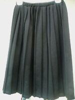 VTG BLAIR BOUTIQUE USA 70S M L XL BLACK PLEATED POLYESTER ELASTIC SKIRT WOMEN