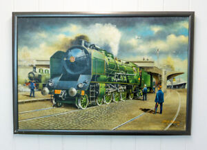 George Rogers - 34017 Ilfracombe On Honiton Bank - Original Railway Oil Painting