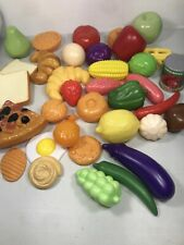 35 Pieces Fake Toy Pretend Plastic Food Lot - Pizza, Bread, Fruit & Veggies
