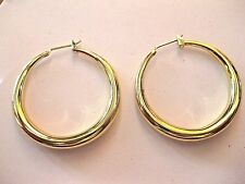 "New Heavy Gold Tone ( Filled?) Graduated Tube Hoop Earrings 1 3/8"" Pierced:"
