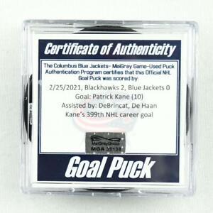2020-21 Patrick Kane Chicago Blackhawks Game-Used Goal-Scored Puck -399th Goal