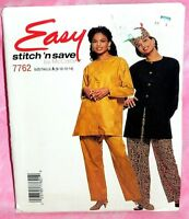 Uncut McCalls Sz 8-14 Easy Front Button Tunic Pull-On Pants & Hat Pattern 7762