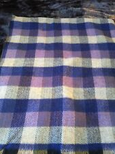 "PRELOVED VINTAGE 100% THICK WOOL REVERSIBLE DOUBLE PLAID BLANKET  58"" X 68"""