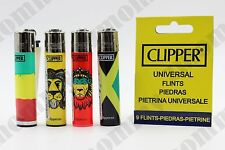 4 pcs New Refillable Clipper Full Size Lighters Rasta Design W CLIPPER FLINT