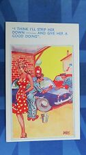 Risque Comic Postcard 1950 Rover 100 Motor Car Blonde Big Boobs Mechanic Garage