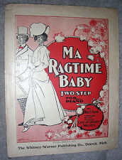 1898 MA RAGTIME BABY Two Step Vintage BLACK AMERICANA Sheet Music by Fred Stone