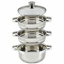 3 Tier Stainless Steel Steam Cooker Hob Pan Pot Cook Set Glass Lid Healthy Food