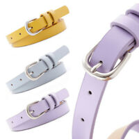 Women's Adjustable Skinny Leather Belts Alloy Pin Buckle Business Waistban Hs