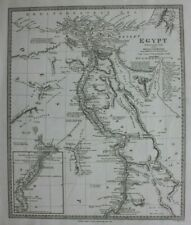 EGYPT, NILE DELTA, CAIRO, SUEZ, RED SEA, original antique map, SDUK, 1844