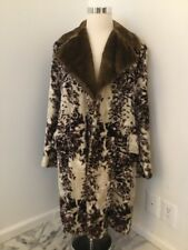 RARE VINTAGE MENS CAMPUS 1970S FAUX FUR TRENCH OVER COAT ORIGINAL BROWN SIZE 42