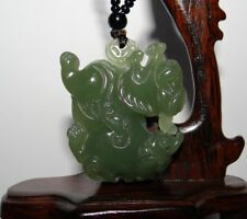 "1.8""China Certified Nature Hetian Nephrite Jade Fortune Double Carvd Necklace"