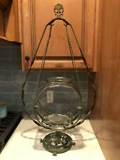 Antique Victorian Art Deco Thick Glass Hanging Fish Tank Bowl & Stand 34�x20�x8