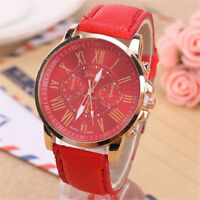 New Fashion Women's Leather Band Casual Stainless Steel Quartz Analog Wrist Watc