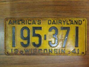 1941 WISCONSIN - AMERICA'S DAIRYLAND LICENSE PLATE 195-371