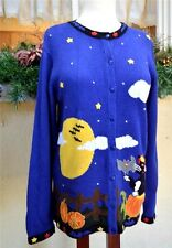 Quacker Factory M Halloween Sweater Blue/Multi Kitty Cat In the Pumpkin Patch