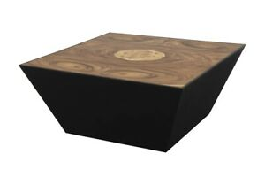 """36"""" L Modern Trapezoid Coffee Table Solid Natural Acacia One of a Kind Wood"""