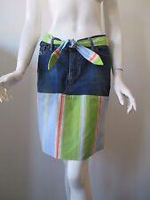 Women's LACOSTE Stripe Patch Work Tie Waist A Line Jean Skirt  Size 9