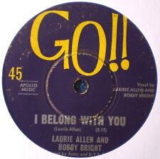 """BOBBY AND LAURIE-I BELONG WITH YOU/TROUBLE IN MIND """"RARE OZ"""" 45 RPM"""
