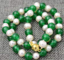 """hot 7-8MM White Akoya Pearl & Green Emerald Necklace 18"""""""