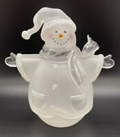 Christmas Clear and Frosted Acrylic Snowman with Glitter Embellishment 5 1/2""
