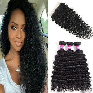 Brazilian Deep Wave 3 Bundle with Closure Virgin Hair with 4X4 Closure Free Part