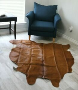 Large Cowhide Rug Brown 6x7 ft Brazilian Cow Hide Skin Hair on Real Leather Rugs