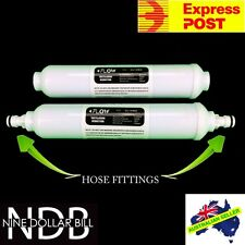 "2 X 10"" Inline Carbon Water Filters Garden Hose Fittings Fridge Caravan EXPRESS"