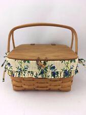 Longaberger 1996 Small Picnic Basket Combo w Riser Rose Trellis