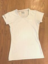 Women's Under Armor athletic heatgear fitted white short sleeve shirt S