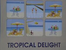 New Pimpernel Set of 6 Square Coasters Tropical Delight ~ Free Shipping