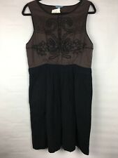 New $148 Leifnotes Anthropologie Women's Size 12 Dress Brown Black Sleeveless
