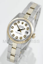 Rolex Ladies Datejust Gold & Steel White Diamond Fluted Oyster 6917 2Tone 2YR
