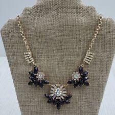 Gold Tone Chain Statement Necklace Rhinestone Purple Bead Cluster Career Work