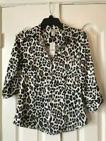 "NWT! White House Black Market Womens Leopard Button-Up Blouse 3/4"" Sleeve Size 4"