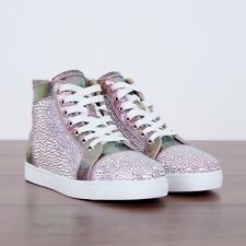 CHRISTIAN LOUBOUTIN 3495$ New Aurore Boreale Python & Strass High Top Sneakers