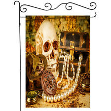 Pirate Skull and Treasure Chest Garden Flag House Flags Yard Banner Double Side