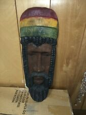 "Rasta Man Jamaican Hand Carved Wood Art Reaggae 25x9"""