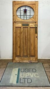 WOODEN FRONT DOOR-1930s-TIMBER-ORIGINAL-LEADED STAINED GLASS EDWARDIAN ANTIQUE