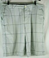 Oneill Mens Size 38 White Plaid Golf Skating Walking Casual Shorts Flat Front