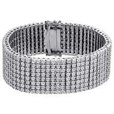 "Mens Sterling Silver Real Diamond 8 Row Tennis Bracelet 25mm Miracle Set 8.50"""