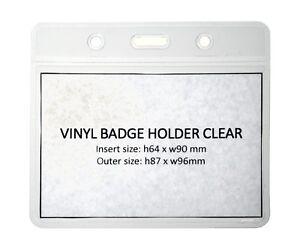 Clear Vinyl ID Card Badge Pass Holder Pocket (Plastic Wallet) - Fast UK FREEPOST