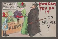 """[41305] 1911 POSTCARD ARTIST SIGNED DWIGGINS """"HOW CAN YOU DO IT ON 9.50 PER ?"""""""