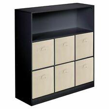 Wooden Black Wide 7 Cubed Cupboard Storage Unit Shelves 6 Beige Drawers Baskets