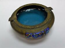 "Antique or Vintage Chinese Ornamental Brass Cloisonné Enamel 6"" Ashtray"