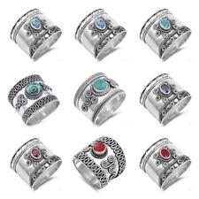 Sterling Silver 925 HANDMADE BALI TURQUOISE, CORAL, ONYX, AMETHYST, GARNET RINGS