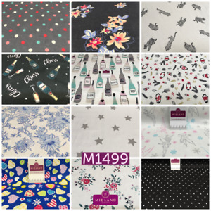 Soft Brushed cotton Winceyette Printed Fabric Many designs MK1499